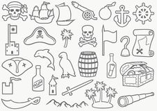Background pattern with pirates thin line icons set stock illustration