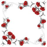 Background with pattern of red flowers Royalty Free Stock Photography