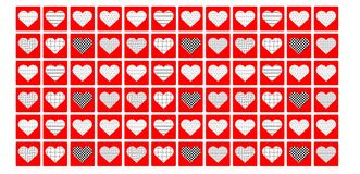 Background with pattern red hearts Royalty Free Stock Photos