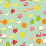Background pattern set of summer healthy fruits. Abstract design of tasty vitamin symbols strawberry, apple, lemon, cherry, coconut for wallpaper, print or Royalty Free Stock Images