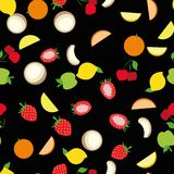Background pattern set of summer healthy fruits. Abstract design of tasty vitamin symbols strawberry, apple, lemon, cherry, coconut for wallpaper, print or Stock Image