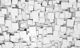 Background pattern of white 3d cubes. Abstract geometric background pattern of white 3d cubes in different sizes in different orientations for a futuristic Royalty Free Stock Image