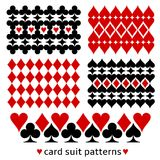 Background patterns with card suits. Card suit background patterns. Casino themed decor made from card suit elements Stock Photography