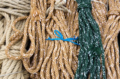 Background and patterns of colorful ropes Stock Images