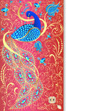 background with peacock with gold ornament  Stock Images