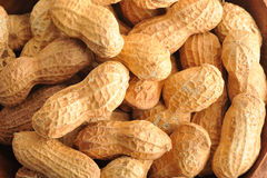 Background of the peanuts with the shell not peeled. Top view Royalty Free Stock Image