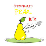 Background with pear. Vaucher discount for organic pear. Vector illustration stock illustration