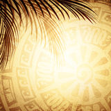 Background With Petroglyph and Palm Leaves Royalty Free Stock Image