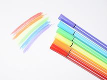 A photo of a rainbow painted with colored felt-tip pens. Symbols of LGBT people. stock photography