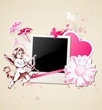 Background with photo and Cupid Stock Photography
