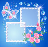 Background with photo frame and butterfly Stock Photos