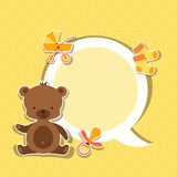 Background photo frame with little cute baby bear.  Stock Images