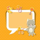 Background photo frame with little cute baby cat Stock Image