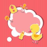 Background photo frame with little cute baby duck Royalty Free Stock Image