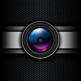 Background with photo lens icon Stock Photos