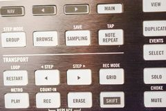 Buttons and pads on modern music machine. Background Photographed in macro, for the music industry or in the daily news for effect, on website for great stock image