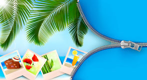 Background with photos from holidays on a seaside Royalty Free Stock Images