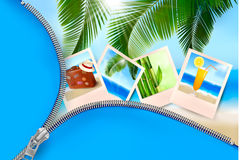 Background with photos from holidays on a seaside. Royalty Free Stock Images