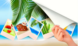 Background with photos from holidays on a seaside. Royalty Free Stock Photography