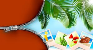 Background with photos from holidays on a seaside. Stock Photo