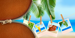 Background with photos from holidays on a seaside. Royalty Free Stock Image
