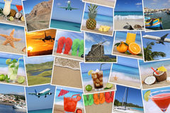Background with photos from summer vacation, beach, holiday and Royalty Free Stock Photo