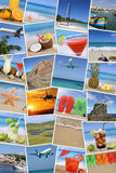 Background with photos from summer vacation, sun, beach, holiday Royalty Free Stock Images