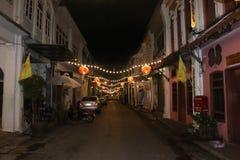 Background. Phuket town street at night royalty free stock images