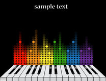 Background with piano keys and colorful equalizer. Black background with glossy piano keys and colorful equalizer stock illustration