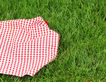 Background for a picnic - plaid on grass. Background for a picnic - plaid on green grass Royalty Free Stock Photo
