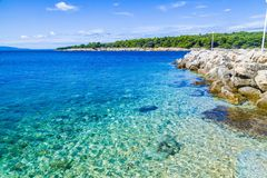 Let`s travel here!. Background picture of croatian kampor island beach summer landscape Royalty Free Stock Image