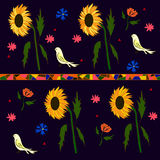 Background picture of sunflowers of birds and flowers.  vector illustration