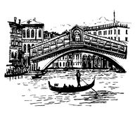 Background picture view of the lagoon, Rialto Bridge and the gondolier in Venice Royalty Free Stock Photos
