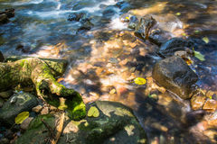 Background Picture of water flows through rocky path of a stream Stock Photo