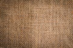 Background of a piece of burlap top view stock photo