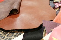 Real leather in many colors craft store production of leather ga Stock Photography