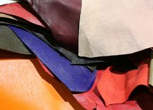 Real leather in many colors craft store production of leather ga Stock Images