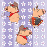 A background with pigs.  seamless pattern. Set of ridiculous pigs against with flowers Royalty Free Stock Photo