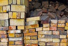 Background pile of old bricks Royalty Free Stock Image