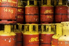 Background of piled up gas cylinders. Background of piled up BHP gas cylinders Royalty Free Stock Photos