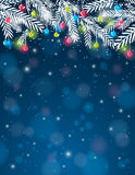 Background with pine twig and christmas ball, ve stock illustration