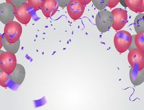 Background with Pink balloons and confetti. Vector paper confett. I and ribbons. Vector illustration Party helium balloons Royalty Free Stock Photos