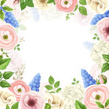 Background with pink, blue and white flowers. Vector illustration. Royalty Free Stock Image
