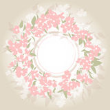 Background with pink bouquet. Illustrations pink wreath with leaves royalty free illustration