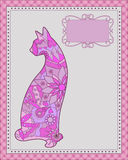 Background with pink cat Stock Image