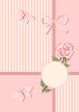Background in pink colors with rose and butterfly. Stock Photography