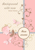 Background in pink colors with rose and butterfly. Royalty Free Stock Images