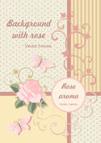 Background in pink colors with rose and butterfly. Royalty Free Stock Image
