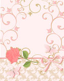 Background in pink colors with rose and butterfly. Royalty Free Stock Photo