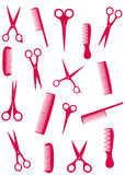 Background with pink comb and scissors stock illustration